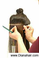 Attach the base directly on the hair about 1/4 inch below the scalp