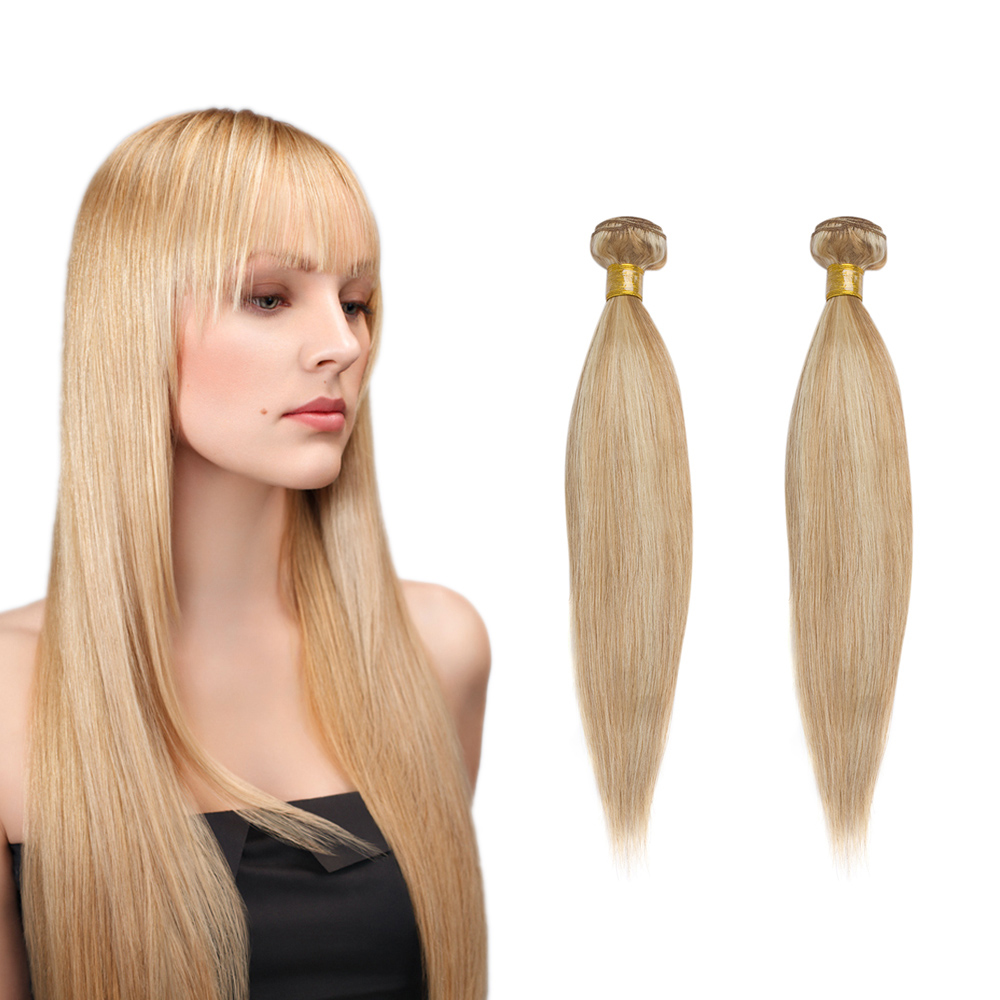 European Remy Human Hair Straight Mix Color Machine Made Weft