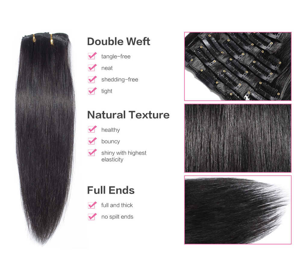 Clip In Hair Extensions 1b Straight